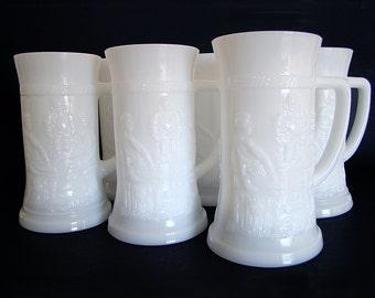 Vintage Federal Glass Milk Glass Steins, Mid Century Barware,Set of 6