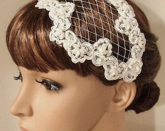 SALE Bridal Hair Clip, Wedding Hair Clip, Wedding Lace hair clip, Wedding Headpiece, Bridal Headpiece, Winter Wedding clip, Vintage Hair Cli