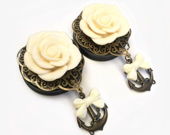 SALE 44mm Rose Cream Rose Bow Anchor Ear Plugs