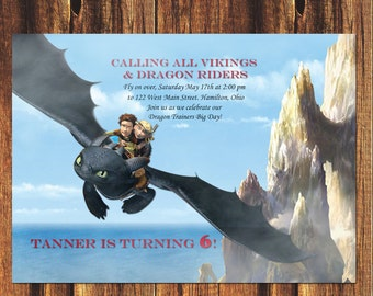 How to Train Your Dragon Birthday Invitation//FREE SHIPPING Hiccup, Astrid, Toothless. Birthday Party, Birthday, Boy and Girl Birthday