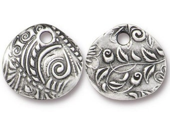 """TierraCast Charms, Dulce Vida Collection, Jardin Charm, 5/8"""" Silver Teardrop Charm, Floral Theme, Antiqued Pewter - (TC/2498-40) - Qty. 4"""
