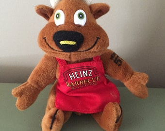 Vintage Stuffed Animal Heinz Barbecue Sauce Cow Bull Advertising Plush Toy