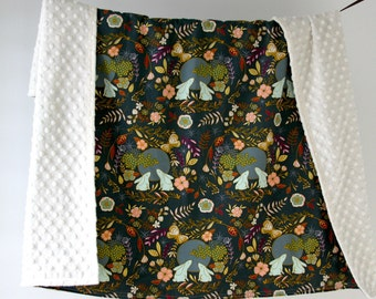 Large Baby/Toddler Blanket, Moon Stories Bunnies Mint with Ivory Minky Dot