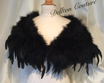 Black Marabou and Coque Feather Wrap stole. Black only SALE