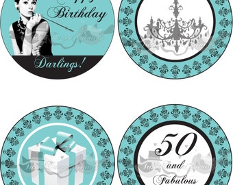 "Breakfast at Tiffany's Theme ""printable"" cake topper"
