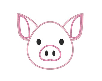 Piglet Baby Pig Applique Embroidery Machine Design