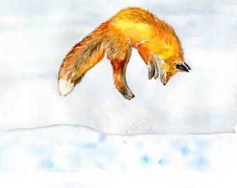 Red fox painting,  watercolor print, Alaska art,  wildlife wall art animal wild, animal print, fox print, wall art, fox art, fox painting