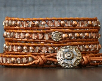 READY TO SHIP wrap bracelet- czech glass beads and silver accents on copper leather- beaded boho gypsy bohemian jewelry - burnt orange