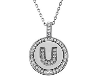 Letter U Micro Pave CZ Pendant .925 Sterling Silver