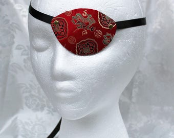 Red Brocade Eye Patch, MADE to ORDER Red and Gold Satin Brocade Pirate Eye Patch