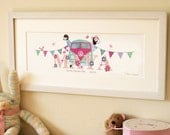 CAMPERVAN - Children's / kid's / baby's illustrated name art picture, personalised unframed print