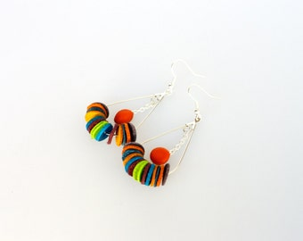 Earrings multicolor round module 02