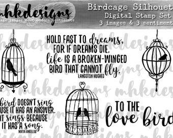 Birdcage Silhouettes Digital Stamp Set