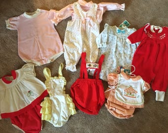 Vintage 1960's / 1970's Baby Girl Clothing Lot
