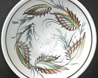 Denby Studio decorative bowl 2 - handpainted abstract leaves and grasses pattern - vintage 1970s - very good condition