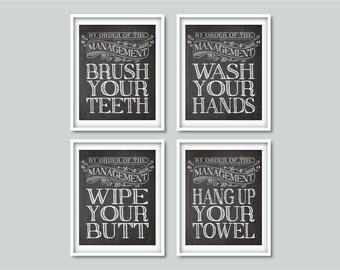 bathroom prints set kids bathroom decor brush your teeth wash your hands