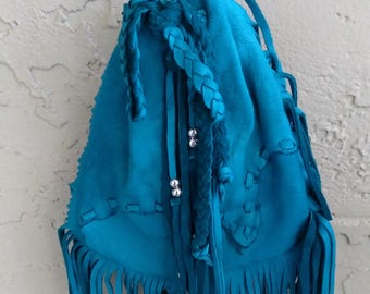 Turquoise Deerskin Purse Pouch