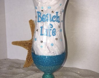 DBEG Hand Painted Beach Life Hurricane glasses