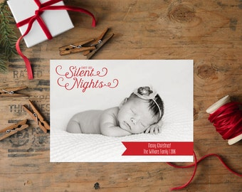 Christmas Photo Card/Photo Holiday Card, Christmas Card, Not So Silent Nights, Baby's 1st Christmas, Holiday Picture, Printable
