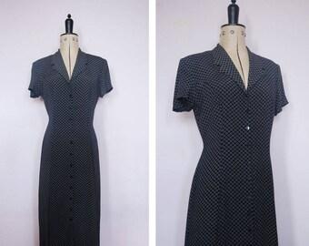 Vintage 1990s navy grunge floral dress - 90s floral dress - 90s rayon dress - 90s Tea dress - 90s button down dress - 1990s grunge dress