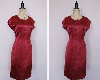 Vintage 50s 60s Cheongsam silk satin cocktail dress - Cheongsam Dress - Vintage Chinese print dress - 50s Wiggle Dress - 50s cocktail dress