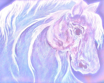 Soft Soul Horse Painting . Large Stretched Canvas. 36 x 24 . Equine Art .
