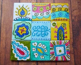 Ceramic tile ,Mosaics, Art tile,,Australia,Handpainted,Abstract Tiles,Ethnic Tiles, Patterned tiles,Craft,Art.