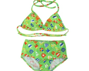 NOS Cute girl's summer bathing suit bikini novelty print size 14 y vintage 70s