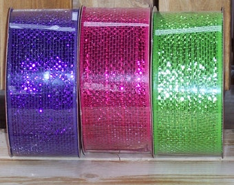 Mesh ribbon,2.5 inches wide,60ft rolls,ass't colors,Pink, purple,bright green,Valentine,St. Patrick,Easter,crafts,Christmas,Holiday