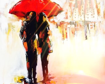 Couples Red Umbrella Original Painting, Love Series of Wanderlust by Lana Moes, Original Wall Art, Ready to Hang, Large Painting