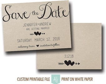 Printable Save the Date or Wedding Invite with RSVP- Rustic Save the Date for the DIY Bride- Choose Your Own Package