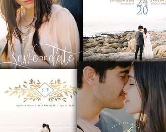 Save The Date Engagement Announcement Cards - 4 Piece Bundle - For Photographers - Photoshop Required - 1646