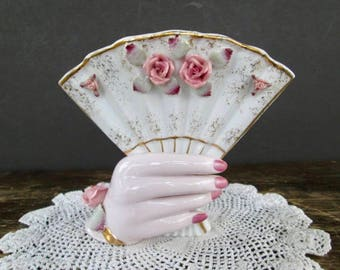 Lefton Hand Holding Fan Vase