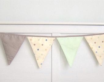 Baby Shower Garland (8), Flags Garland, Nursery Bunting, Nursery Bunting - taupe, mint, cream polka dots
