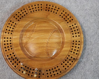 3D Wood Baseball Travel Cribbage Board Made of Maple Wood, Metal Pegs