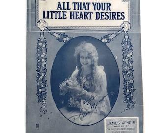 "Vintage Sheet Music ""All that Your Little Heart Desires"" 1920's Love Songs 1923 Violet Mercereau Scrapbooking Art Deco Sheet Music Art"