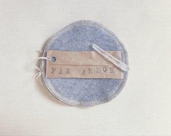 Wool-Backed Nursing Pads // 'Stone' Cashmere Wool, Hemp & Cotton Re-Usable Nursing Pads