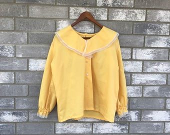 70s sunflower yellow lace long sleeve top