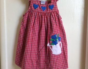 VTG Samara Red Dress Sz 6Y Blue Hearts Summer