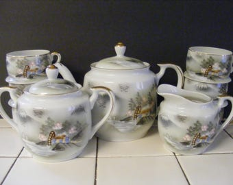 Vintage Bone China Porcelain TEA SERVICE Teapot Cream Pitcher Sugar Bowl and SIX Cups! Hand painted Japanese Countryside mill Hut Mountains!