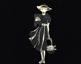 Fashionable Woman in Matte Black Enamel with Dog and Rhinestones Brooch (JT1)