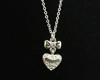 Vintage Silver Tone Candies Rhinestone Heart Necklace (Tier 2)