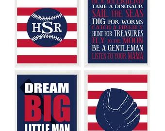 Baseball Nursery Wall Art, Baby Boy Room, Personalized Nursery Art, Baseball Room Decor, Big Boy Room, Sports Wall Art, Navy Blue, Red
