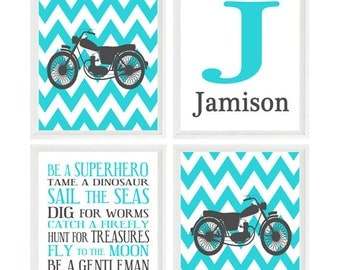 Motorcycle Wall Art, Nursery Decor, Personalized Art, Baby Boy Nursrey, Motorbike Wall Art, Turquoise, Gray Decor, Boy Rules Print, Gift