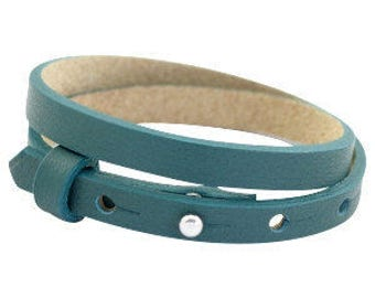 Leather bracelet Petrol