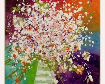 "Acrylic Painting Flower Art, wall art, gift ideas  ""Happy Birthday"" 16x16x0,75 by M.Schöneberg"