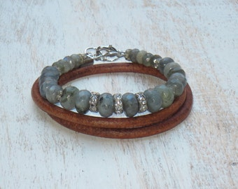 ON SALE Boho Chic Faceted Rondelle Labradorite Bead and Crystal Triple Leather Wrap Bracelet