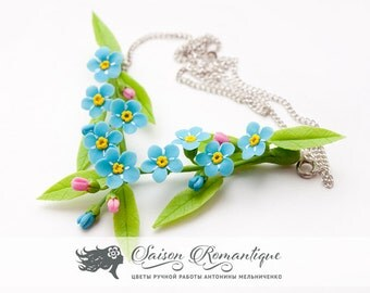 Necklace Forget-me-not - Polymer Clay Flowers - Mothers Day Gift for Women Necklace Blue Gift For Her Flower Forgetmenot Pendant