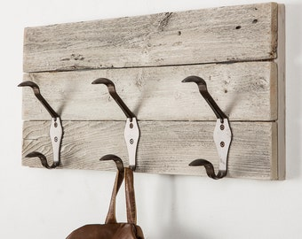 Large Rounded Hooks on Reclaimed Wood