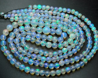 39 Carats,16 Inches,Natural ETHIOPIAN Opal Smooth Round Rondelles,Size 4-6mm